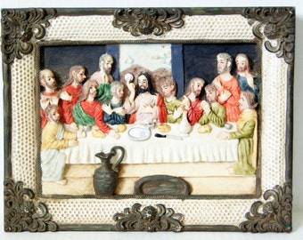 The Last Supper, Lord's Supper Dimensional Plaque, 3D Raised, Hand Painted Last Supper, Last Supper Plaque, Composite, Chalkware, Plaster