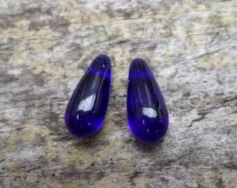 Elongated Cobalt Blue Drops Earrings Pairs Loose Czech Glass Beads (Destash)