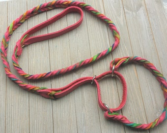 Leather Agility Slip Lead, Leash for Dog Agility,  Martingale Leash, Tie Dye and Pink