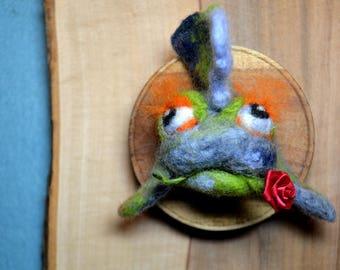 Der hängende Fischkopf*gefilzte Fisch am Wand*Filz Wanddekoration*Trophae