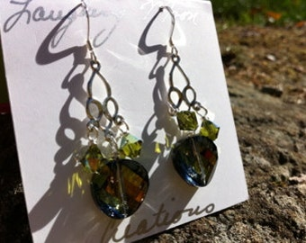 Demi Goddess Chandelier Earring-Sterling silver and Crystal