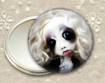 gothic doll pocket mirror,    hand mirror, mirror for purse, gift for her,  bridesmaid gift, stocking stuffer MIR-AD14