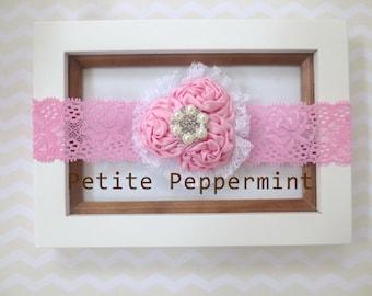 Baby headband, baby girl headband, newborn headband, toddler headband - Pink Baby Flower Headband, Pink Flower Headband