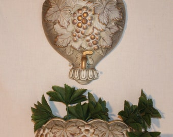 Napco wall fountain and bowl with grapes, leaves and gold accents, 10 inches tall and bowl is 4 inches tall