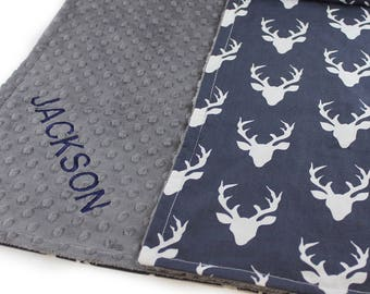 Baby Blanket / Deer Personalized Baby Blanket Baby Boy // Navy Deer Minky Cotton Blanket / Name Baby Blanket / Woodland Blanket / Baby Gift