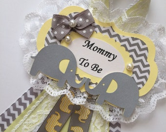 Twins baby shower corsage/Neutral twins baby shower corsage/Twins Mommy to be corsage/Yellow and grey chevron baby shower corsage