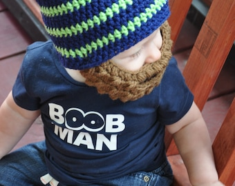 Crochet baby/toddler/childrens/kids striped hat with detachable beard