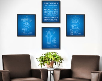 Firefighter Gift for Him Patent Prints SET OF 4 - Firefighter Decor - Firefighter Art Posters - Fireman Ladder - Paramedic - 1830
