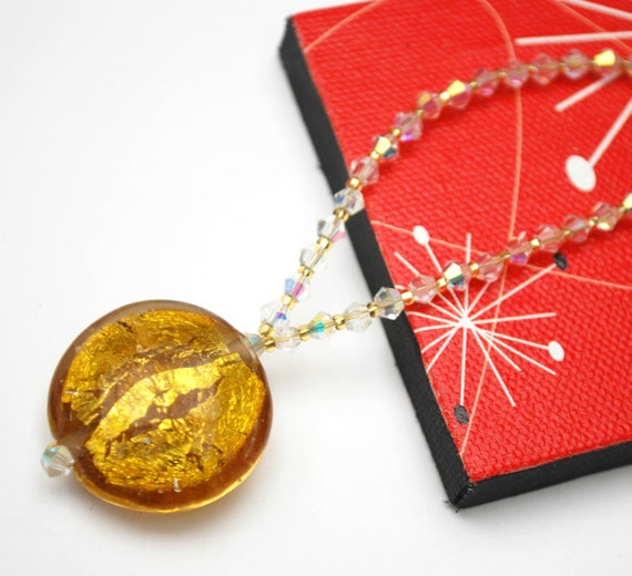Murano Glass Bead Necklace  clear and amber color crystal glass beads  Venetian Art glass  Crystal necklace