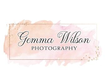 Premade logo, Watercolor logo, Blog logo, Blog header, Personalized Logo, Watercolor header, Custom Logo, Logo design, copper, rose