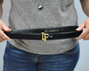 Vintage LOUIS FERAUD monogram leather belt ,....