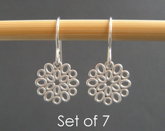 bridesmaid earrings: SET OF 7. small silver filigree ovals. sterling silver dangle. flower drop. bridal gifts. wedding jewelry. 1/2""