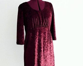 Holiday Sale Burgundy Velvet Babydoll Dress #KheGreen #Eco Fashion