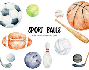 Sport ball clip art, watercolor sport balls, watercolor clipart, instant download