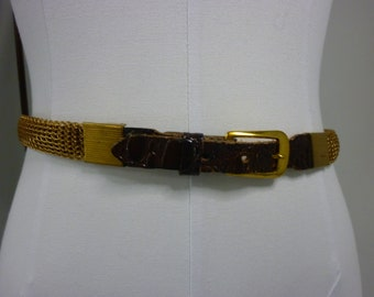 Gold Mesh Metal Adjustable Belt with Leather Front