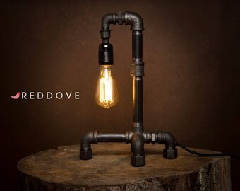 Hand made Black Industrial E27 Iron Pipe table or desk Lamp