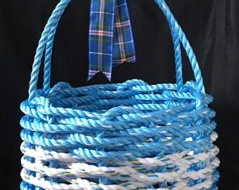 Handwoven Rope Basket with Nova Scotia Tartan