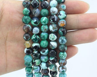 Green Agate Beads Supplies ,4 6 8 10 12 14MM Jewelry Beads ,Round Agate Beads,Gemstone Beads for DIY Jewelry Making--15inches-EB221