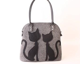 Felt tote bag Cat lover gift Handbags Shoulder bag Gift for her Cat purse Gift for mom Womens bag Handbag tote Crazy cat lady Messenger bag