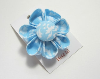 Blue Damask Fabric Flower, Kanzashi Flower, Available Hair Clip, Headband, Ponytail Holder, You Choose