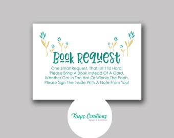 Book Request Card for Baby Shower / Matching Teal Giraffe
