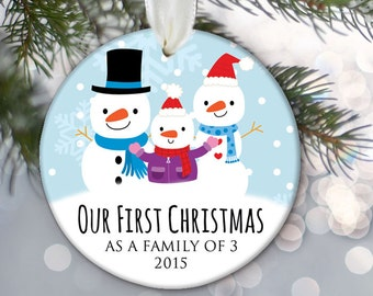 Family Christmas Ornament Snowman Family of 3 Three Snowmen Christmas Gift Holiday Gift Snowman Family Baby Announcement New baby Gift OR503