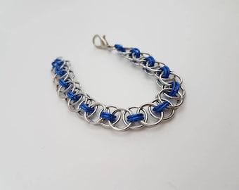 Blue Handmade Helm Weave Chainmaille - Women's Small Bracelet