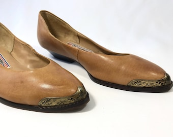 1980s Southwestern Style Leather Slip Ons | Vintage Leather Shoes