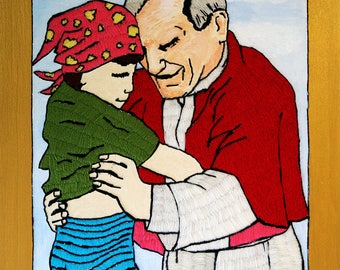 Silk painting of the Pope with a child