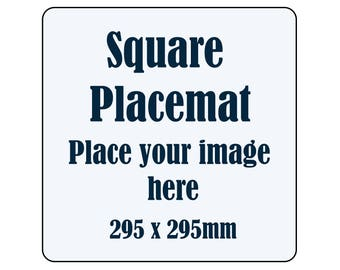 PERSONALISED SQUARE PLACEMATS - timber/cork with your own image/artwork - set of 6