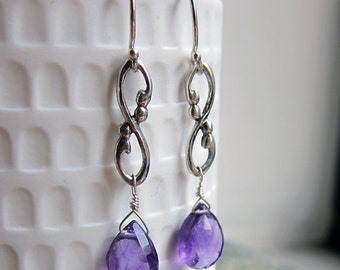 Amethyst drop earrings, February birthstone earrings, long drop earrings gift for her briolette earrings infinity birthstone earings Wrought