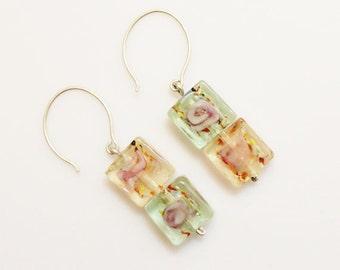 Lampwork Glass Earrings, Green and Orange Earrings, Square Earrings