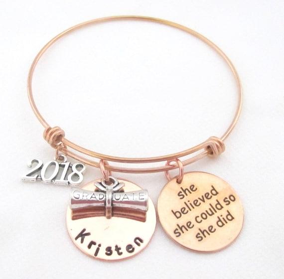 2018 Graduation Gift, 2018 for Her,Rose Gold Graduation Bangle,She Believed She Could,Graduation Bracelet,Inspirational,Free Shipping USA