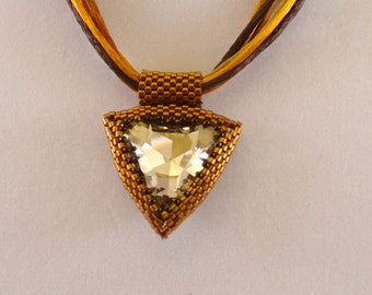Hand Beaded 23 MM Swarovski Silver Shadow Triangle Pendant with Brown and Gold Cords Sparkling Womens Birthday Gift OOAK Gift for Her