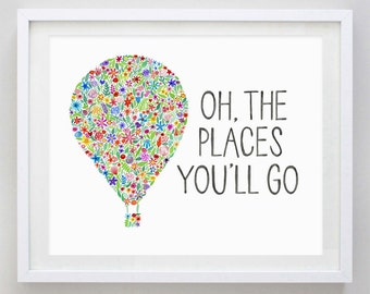 Oh, the Places You'll Go Hot Air Balloon Floral Watercolor Art Print