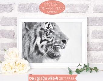 Tiger Print, Printable Wall Art, Black and White Print, Black and White Art, Printables, Tiger Art, Minimalist Print, Minimalist Art, Prints