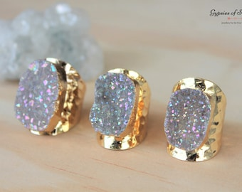 Gold Plated AB Druzy Cuff Statement Ring / Gold Plated Adjustable Crystal Ring / Real Druzy Gemstone Ring/ Gold Gemstone Ring