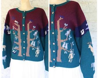 1980s Teachers Sweater / Wool Cardigan Sweater / Noahs Ark Animals Sweater / Barn Yard Sweater / Vintage 80s Teachers Wool Sweater M/L
