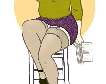Curvy Pinup - 8x10 art print / fat, bbw, body positive, retro librarian cat-eye glasses beehive babe