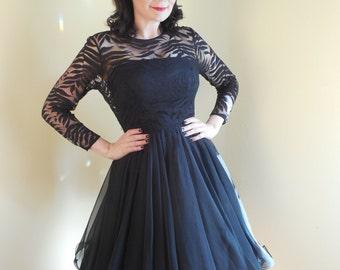 SALE, Vintage Chiffon Dress,  Emma Domb .Style , Curly Hem, zebra, 1950S