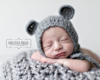 Gray Teddy Bear Mohair Baby Hat Newborn Photography Prop