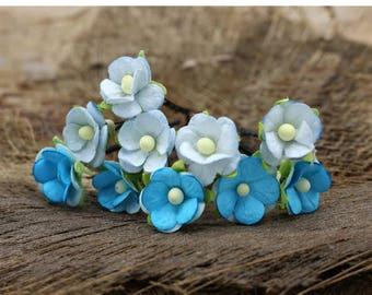 Set of 10 Small blue Roses, Mulberry Paper Flower Hair Pins , Bridal Hair Pins, Hair Bobby Pins,U pins,Prom,Bridal Hair Accessories (FL11)