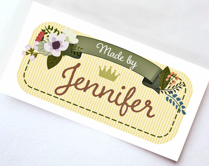 """Great Custom Gift Tags • Custom Fabric Labels Sew-on or Iron-on • 80 Labels  2 x 1"""" Uncut • For Crochet, Knitting, Sewing  • 8 Tag Styles"""