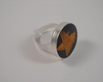 orange petals silver ring