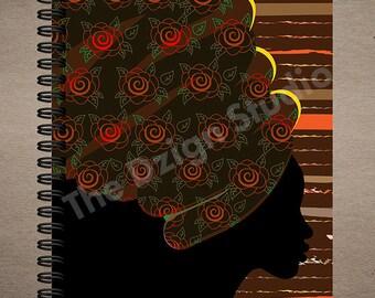 Headwrapped Journal | Wire Bound | spiral journal | writing journal | custom journal | school supplies | black girl journal | diary