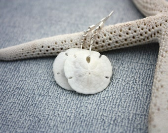 Sand Dollar Earrings, White Sand Dollar Jewelry, Beach Jewelry, Nautical Earrings Nautical Jewelry Hawaiian Jewelry Hawaii Jewelry Ocean 022