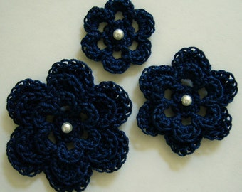 Crocheted Flowers - Navy Blue With a Pearl - Cotton Flowers - Crocheted Flower Appliques - Crocheted Flower Embellishments