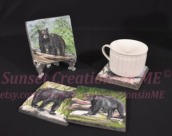Black Bears, Black Bear Decor, Wildlife, Bear Coasters, Black Bear Art, Country Decor, Handpainted Coasters, Slate Coaster, Acrylic Painting