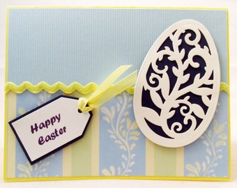 Easter Card, Happy Easter Card, handmade card, blue card, Easter greeting card, Easter egg, Easter celebration, Spring card, MADE TO ORDER