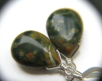 Dark Green Earrings . Natural Gemstone Earrings . Green Stone Earrings . Green Dangle Earrings . Wire Wrapped Earrings